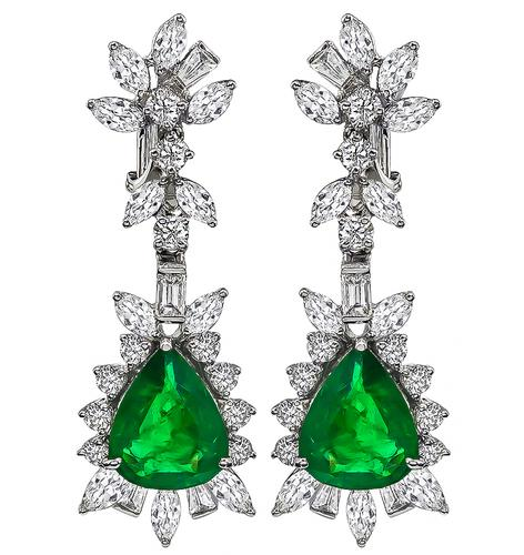 Pear Shape Emerald Marquise Baguette and Round Cut Diamond 18k White Gold Drop Earrings
