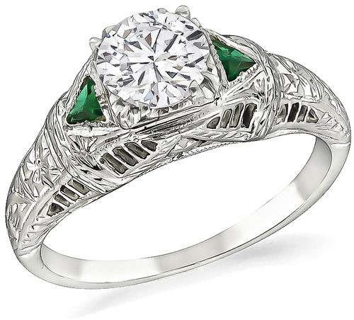 Vintage Round Cut Diamond Emerald 14k White Gold Engagement Ring
