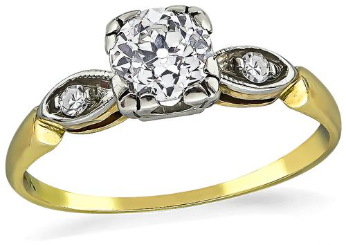 Old Mine Cut Diamond 14k Yellow and White Gold Engagement Ring