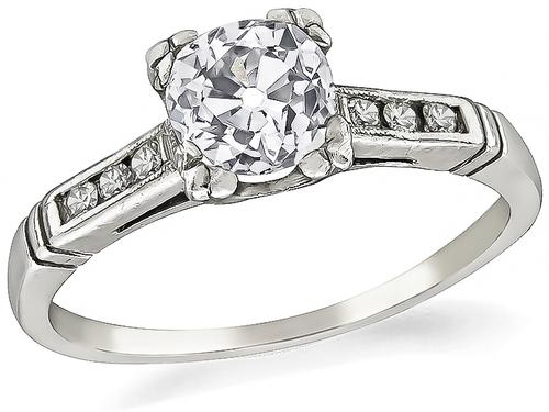 1920s Old Mine Cut Diamond Platinum Engagement Ring