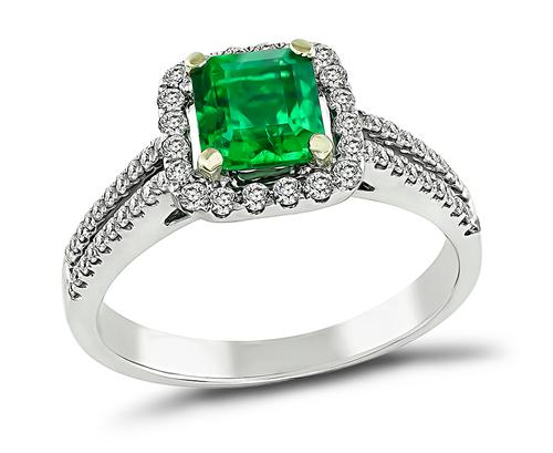Emerald Cut Emerald Round Cut Diamond 18k White Gold Engagement Ring