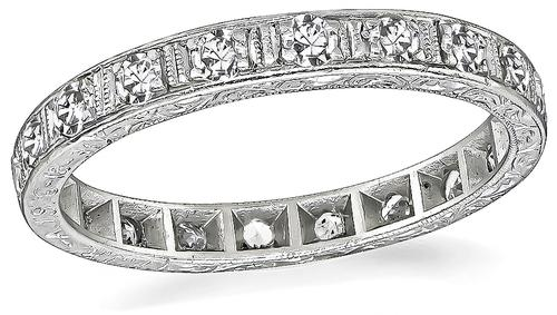 Round Cut Diamond Platinum Eternity Wedding Band