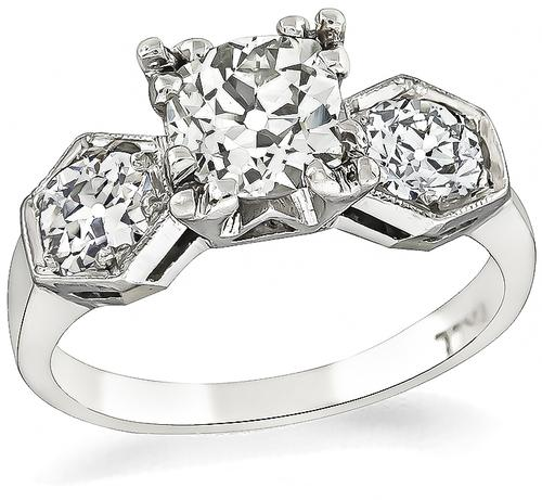 1920s Cushion Cut Diamond 14k White Gold Engagement Ring