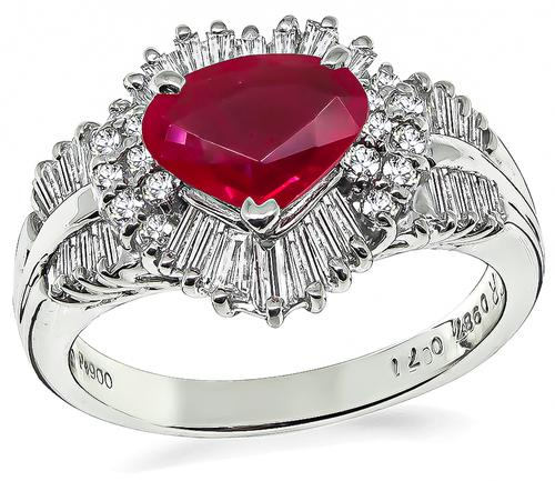 Heart Shape Ruby Round and Baguette Cut Diamond Platinum Ring