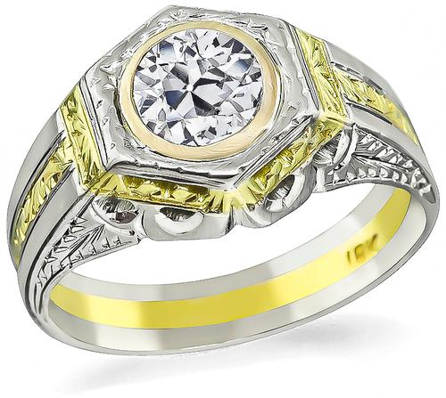 Old Mine Cut Diamond Two Tone 18k Yellow and White Gold Ring
