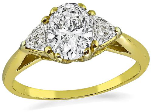 Oval Cut Diamond 18k Yellow Gold Engagement Ring