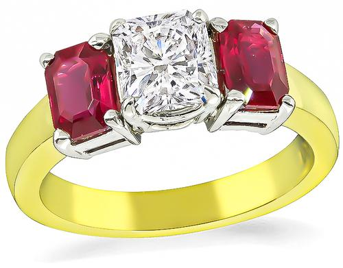 Radiant Cut Diamond Emerald Cut Ruby 18k Yellow and White Gold Engagement Ring