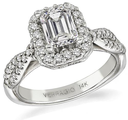 Emerald Cut Diamond 14k White Gold Engagement Ring by Verragio