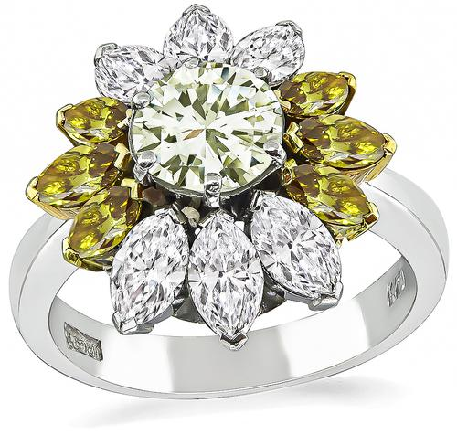 Round Cut Fancy Light Yellow Diamond Marquise Cut Yellow Green and White Diamond Platinum Engagement Ring