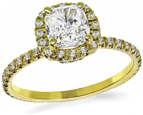 Cushion Cut Diamond 14k Yellow Gold Engagement Ring