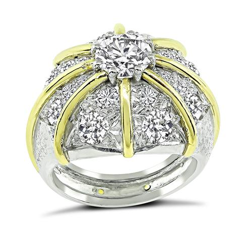 Old Mine and Round Cut Diamond 18k Yellow Gold and Platinum Cocoktail Ring