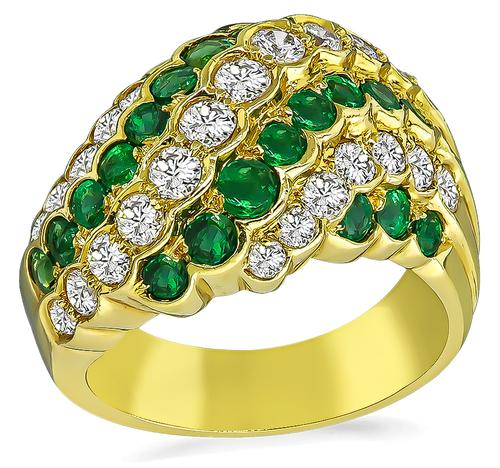 Round Cut Diamond Round Cut Emerald 18k Yellow Gold Ring