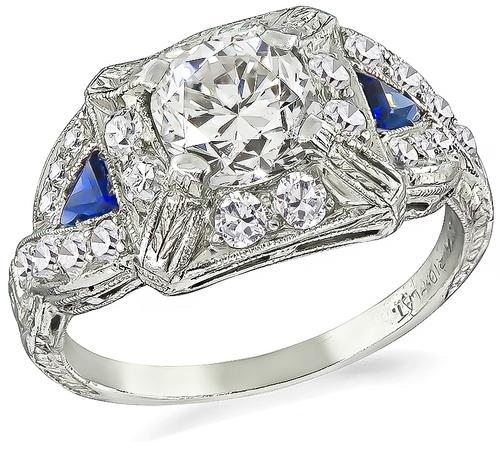Vintage Cushion Cut Diamond Sapphire Platinum Engagement Ring