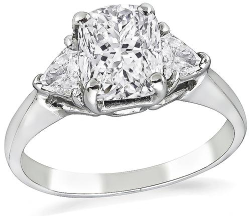 Cushion Cut Diamond Platinum Engagement Ring