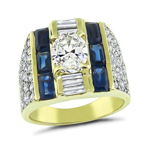 Marquise Cut Center Diamond Round and Baguette Cut Side Diamond Sapphire 14k Yellow Gold Ring