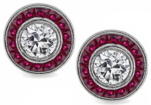 Art Deco Style Round Brilliant Cut Diamond Faceted Calibre Cut Ruby Platinum Earrings