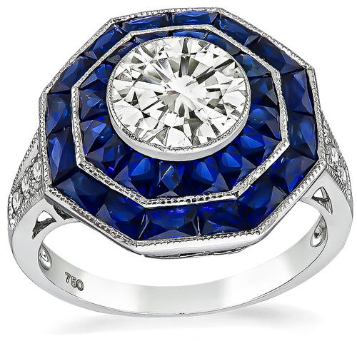 Round Cut Diamond French Cut Sapphire 18k White Gold Engagement Ring