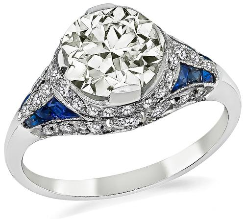 Estate Round Cut Diamond Sapphire 18k White Gold Engagement Ring