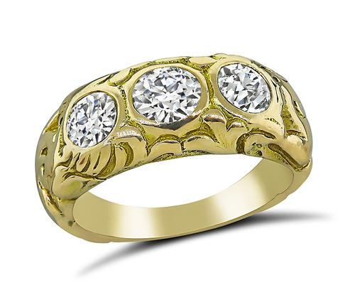 Old Mine Cut Diamond 14k Yellow Gold Gypsy Ring