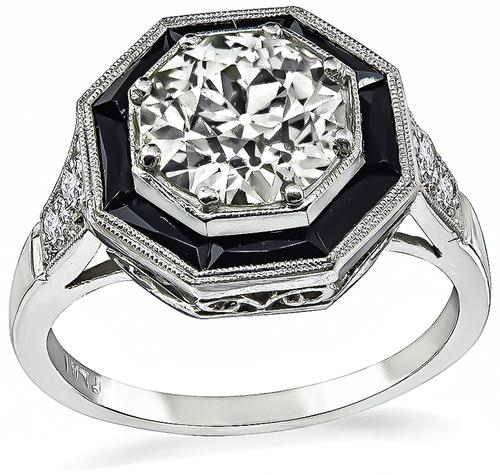 Art Deco Old Mine Cut Diamond Onyx Platinum Engagement Ring