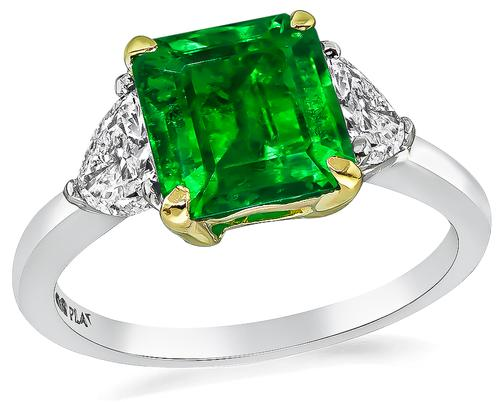 Emerald Cut Emerald Trilliant Cut Diamond Platinum Engagement Ring