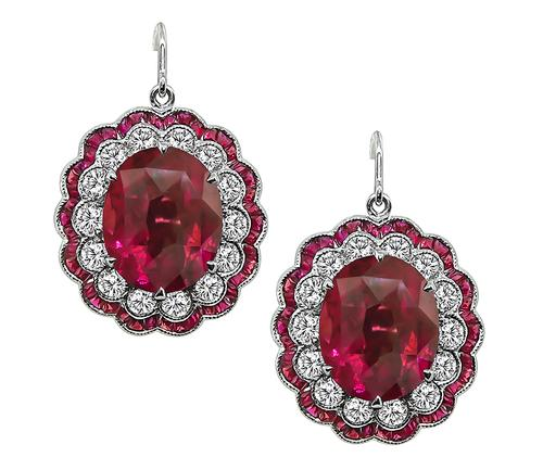 Art Deco Style Oval Cut Rubellite Round Cut Diamond 14k White Gold Earrings