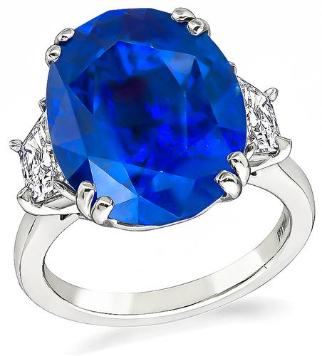 Cushion Cut Sapphire Trapezoid Cut Diamond Platinum Engagement Ring