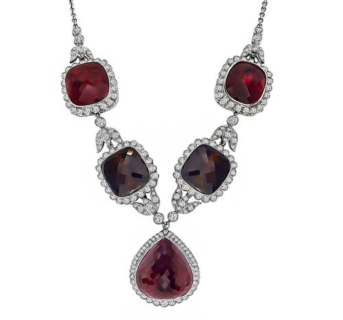 Pear and Cushion Checker Board Cut pink and Brown Tourmaline Round Cut Diamond 18k White Gold Necklace
