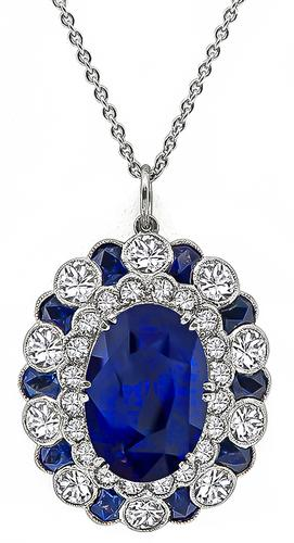 Art Deco Style Oval Cut Sapphire Round Cut Diamond 18k White Gold Pendant Necklace
