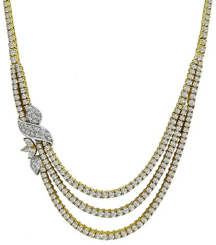 Round and Marquise Cut Diamond 18k Yellow and White Gold Necklace