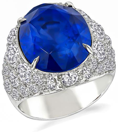 Estate 15.34ct Oval  Cut  Sapphire 6.00ct Old Mine Cut Diamond 14k White Gold  Cocktail  Ring