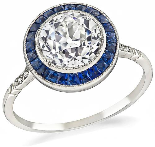 Art Deco Style Old European Cut Diamond Sapphire Platinum Engagement Ring