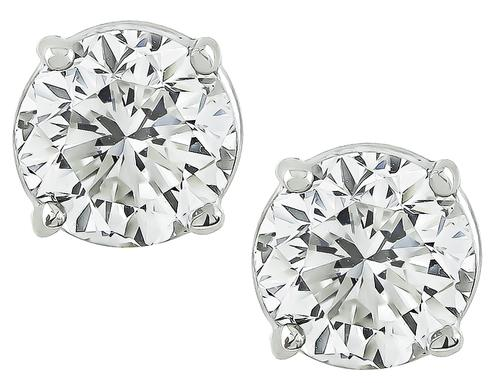 2.04cttw Round Cut Diamond 14k White Gold Studs Earrings