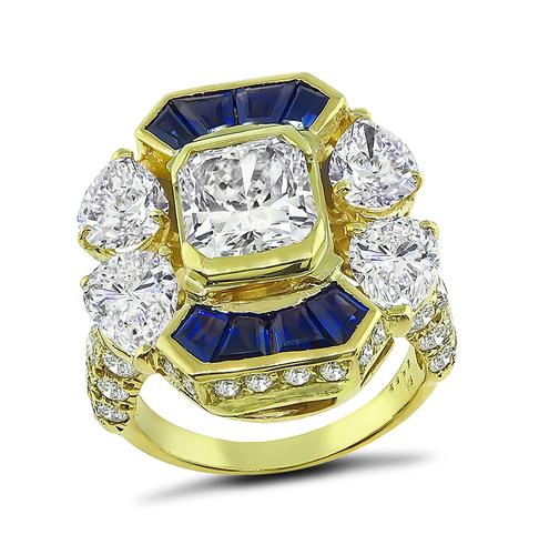 Radiant Pear and Round Cut Diamond Sapphire 18k Yellow Gold Ring