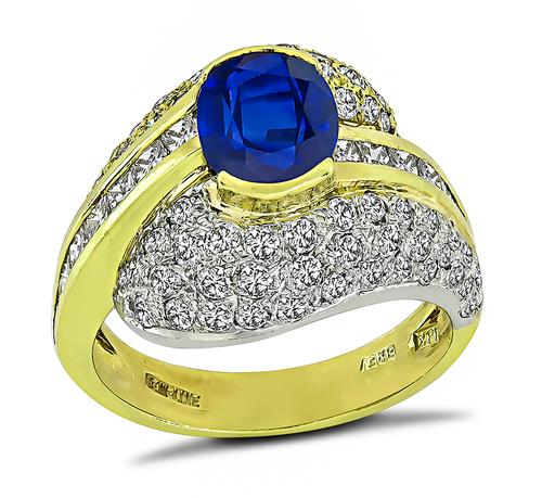 Oval Cut Ceylon Sapphire Round and Princess Cut Diamond 18k Yellow and White Gold Ring