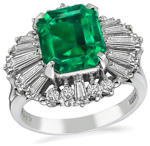 Emerald Cut Emerald Baguette and Round Cut Diamond Platinum Cocktail Ring