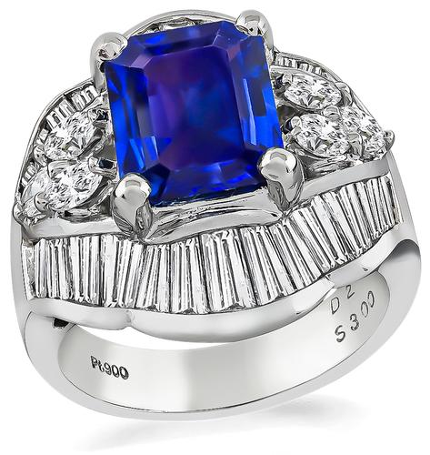 Emerald Cut Sapphire Baguette and Marquise Cut Diamond Platinum Ring