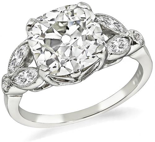 Art Deco Style Cushion Cut Diamond Platinum Engagement Ring