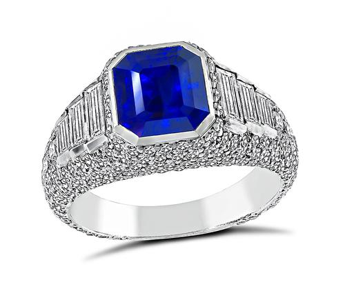 Emerald Cut Ceylon Sapphire Round and Baguette Cut Diamond Engagement Ring