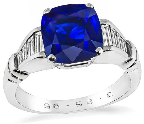Cushion Cut Ceylon Sapphire Baguette Cut Diamond Platinum and 18k White Gold Engagement Ring