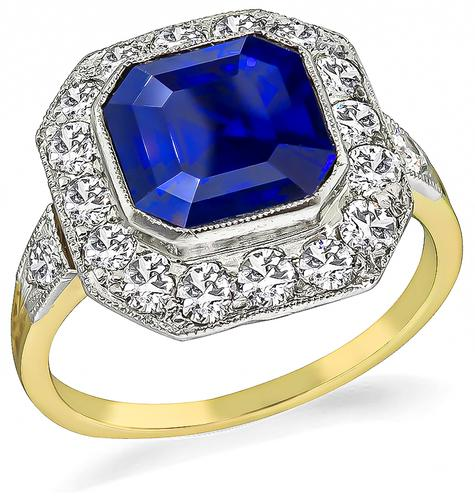 Art Deco Asscher Cut Ceylon Sapphire Old European Cut Diamond 14k Yellow Gold Platinum Engagement Ring