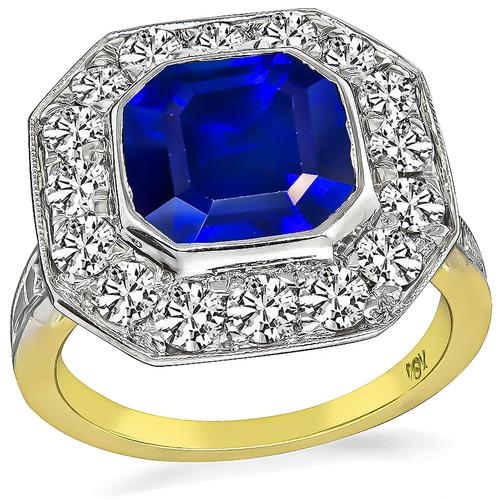 Art Deco Asscher Cut Sapphire Round Cut Diamond 18k Yellow and White Gold Engagement Ring