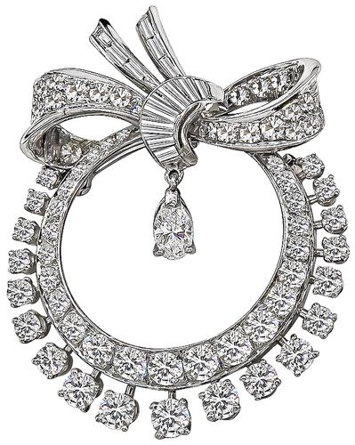 Round Baguette and Marquise Diamond Platinum Pin