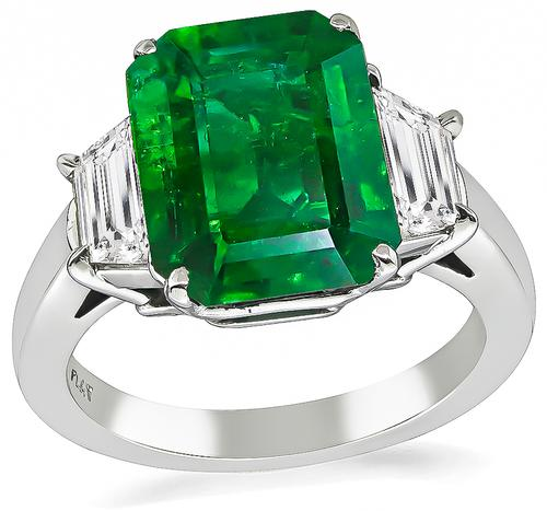 Emerald Cut Emerald Trapezoid Cut Diamond Platinum Engagement Ring