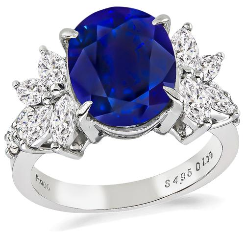 Oval Cut Sapphire Marquise and Round Cut Diamond Platinum Engagement Ring
