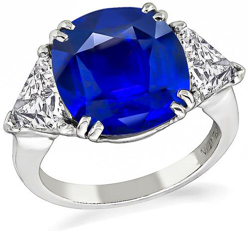 Cushion Cut Ceylon Sapphire Trilliant Cut Diamond Platinum Engagement Ring