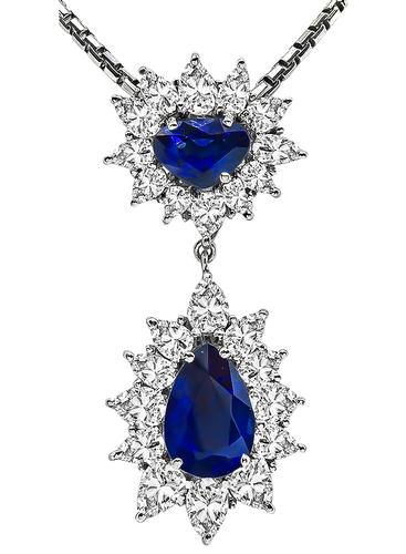 Pear and Heart Shape Sapphire Pear Shape Diamond 18k White Gold Pendant Necklace