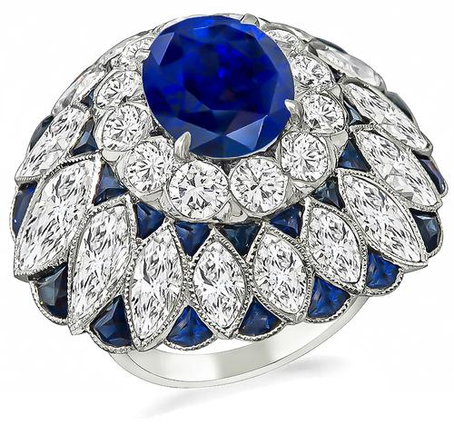 Art Deco Style Cushion Cut Ceylon Sapphire Round and Marquise Cut Diamond Platinum Cocktail Ring