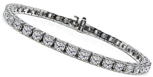 Round Cut Diamond 14k White Gold Tennis Bracelet