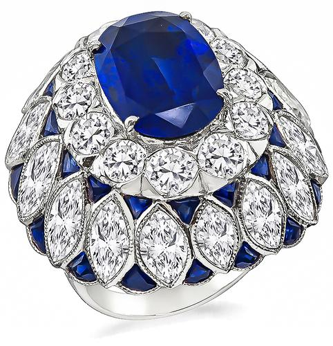 Art Deco Style Oval Cut Sapphire Round and Marquise Cut Diamond Platinum Cocktail Ring